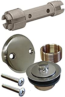 Brushed Nickel Bathtub Tub Drain Assembly Bath Area Shower Overflow and Removal Tool