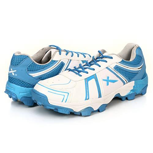 KD Vector Cricket-Schuhe mit Gummi-Spikes, Ziel, Hockey, Sport, Stollen für drinnen und draußen, Mehrere (weiß / blau), 37 EU