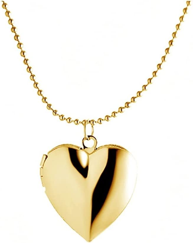 ZZL Fashion Pendants Women Girls Locket Necklace Platinum 18K Gold Photo Lockets That Hold Picture Jewlery (Color : Gold)