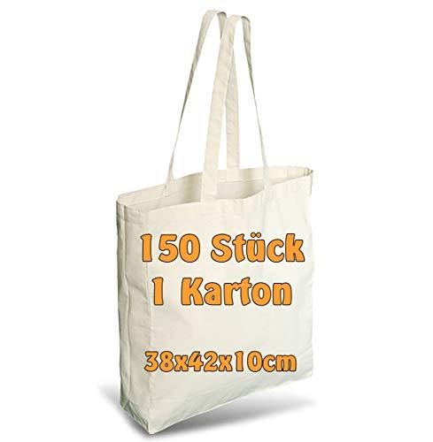 Cottonbagjoe Einkaufstasche   unbedruckt   Seiten-&Bodenfalte   Langen Henkeln   Jutebeutel (Natur, 150 Stück)