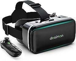 [Dasimon VRゴーグル] VRヘッドセット VRヘッドマウントディスプレイ スマホ用VRゴーグル Bluetoothリモコン付 高品質の5層構造非球面光学レンズ 視野角広い 瞳孔間距離&ピント調節可 遠視/近視適用...