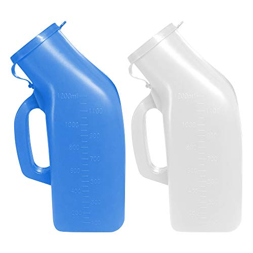 Urinals for Men Thick Firm Portable Urinal Urine Collection for Hospital Incontinence Elderly Travel Bottle and Emergency White  Blue 2 Packs1200ml