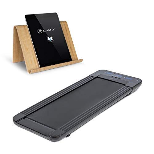 Klarfit Workspace Go Light Cinta de Andar - Soporte para Tablet, Ejercicio en la Oficina, 350 W, Ultraplano: Solo 11 cm de Altura, Pesa Solo 25 kg, hasta 6 km/h, Superficie de 36 x 100 cm