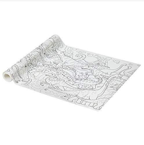 IKEA Rollo de papel para colorear JATTELIK 10 m x 43 cm con motivo de dinosaurios. Para pintar con rotuladores, acuarelas, temperas, lápices de colores. Papel de 80 gr libre de cloro.