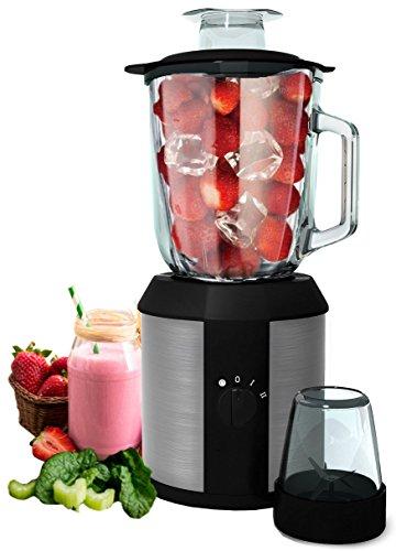 Standmixer 1.500 Watt Glas Edelstahl | Smoothie Maker | Mixer | Universal Power Mixer | 4-Fach Stahlmesser | 1,3 Liter | Zerkleinerer | Eiweiß Shaker | Ice Crusher | Eis Crusher |