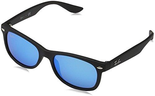 Ray-Ban Unisex New Wayfarer Junior Sonnenbrille, Schwarz (Gestell: Schwarz, Gläser: Blau verspiegelt 100S55), Medium (Herstellergröße: 47)