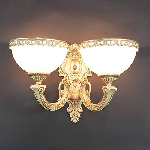 Wandleuchte in Messingweißantik Jugendstil inkl. 2x 12W E27 LED Wandlampe aus Metall & Glas Dimmbar für Esszimmer Schlafzimmer Flur Lampen Leuchte Beleuchtung innen