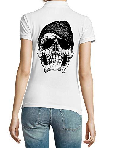 Générique Vintage Hipster Skull Art Dark Soul and Death T-Shirt Polo Femme Blanc X-Large