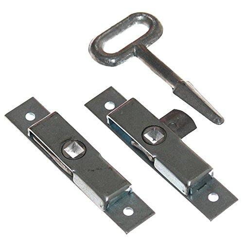 Preisvergleich Produktbild 2 Verschluß Riegel + Vierkant Schlüssel für Anhänger Einbau Klappe Sicherung Türriegel Fensterriegel Verriegelung Neu Old-Harvest