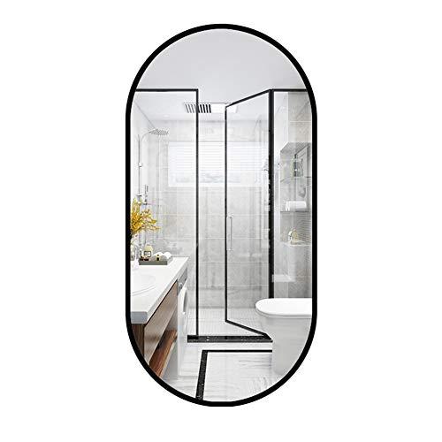 Espejo de baño Ovalado, Espejo de vanidad con Marco de Metal montado en la Pared, suspensión Vertical u Horizontal (Negro/Dorado)