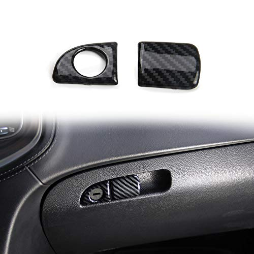 Crosselec Carbon Fiber Glove box handle Switch Cover Trim For Dodge Charger 2011+