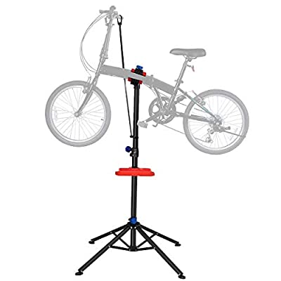 """S AFSTAR Pro Mechanic Bike Repair Stand Adjustable 41"""" to 75"""" Cycle Rack Bicycle Workstand Tool Tray"""