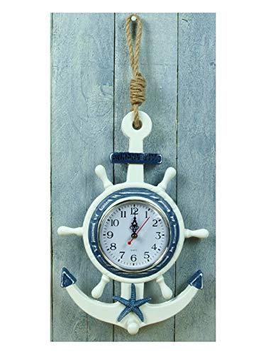 Küstenambiente Maritime Uhr Wanduhr zum Hängen Ankerplatz Anker Steuerrad (M591)