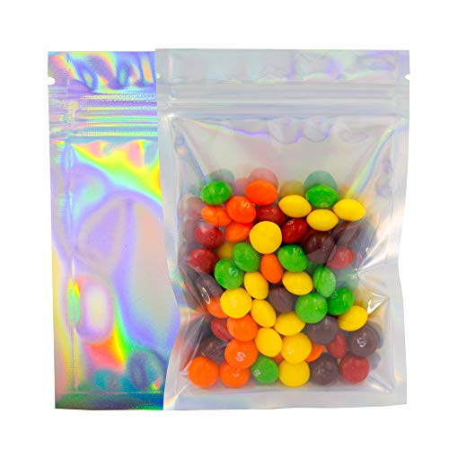 100 Pack Smell Proof Bags 4x6 Inches, Resealable Mylar Bags Food Safe ZipLock Food Storage Foil Pouch Bag, Holographic Rainbow Color (4 x 6 Inch)