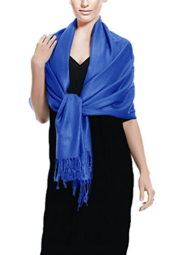 Peach Couture Soft and Silky Bamboo Rayon Pashmina Feel Shawl Scarf Wrap (Blue)