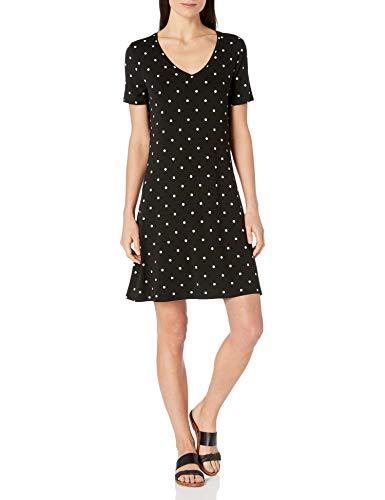 Amazon Essentials Short-Sleeve V-Neck Swing Dress Vestito, Punto Nero, XS