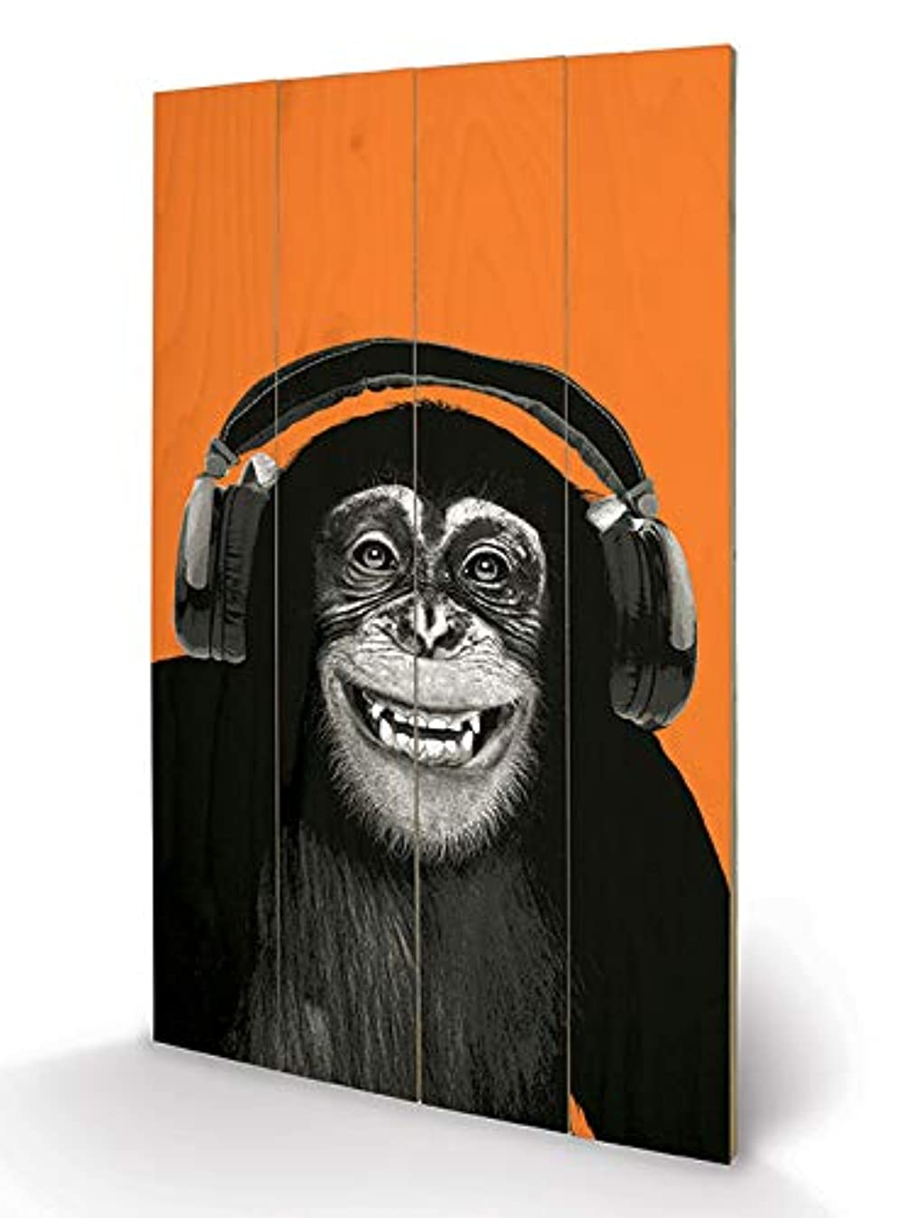 CHIMPANZEE HEADPHONESImages & Pictures, Wooden wall art, Size: 45 x 76cm (18 x 30.4 inches)