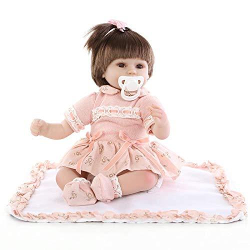 Q-YR Reborn Baby Dolls Girl Realista Toyler Silicone Vinyl Babies Rosa Traje 43Cm Bebés Recién Nacidos Toys Regalo para Niños