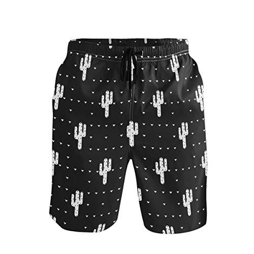 Emoya Herren Strand-Shorts, Schwarz / Weiß, Kaktus-Badehose, verstellbare Taille, schnelltrocknend Gr. XXL, mehrfarbig