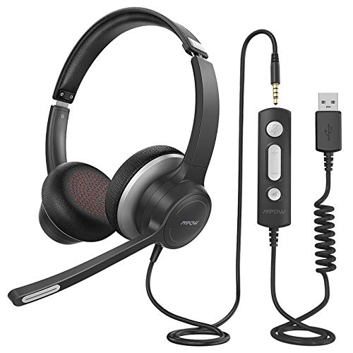 Mpow PC Headset mit Mikrofon HC6, 3,5mm PC Headset,USB Headset mit Noise-Cancelling-Mikrofon, Computer Headset für Skype, Webinar, Homeoffice, Gaming, e-Learning,Musik, Call Center, Ultra Komfort