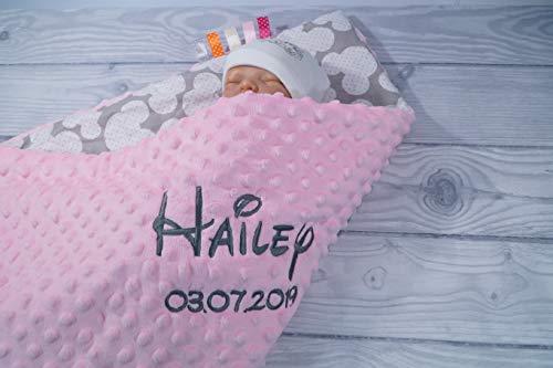 ★ Babydecke mit Namen und Datum bestickt ★ MINKY ★ Baumwolle ★ Füllung ★ (75 x 100 cm, Hellrosa - Mäuse)