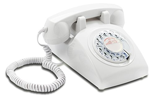 OPIS 60s CABLE with classic General Post Office styled dial card: designer retro phone/rotary dial telephone/retro style phone/vintage telephone/classic desk phone with rotary dialler (white)