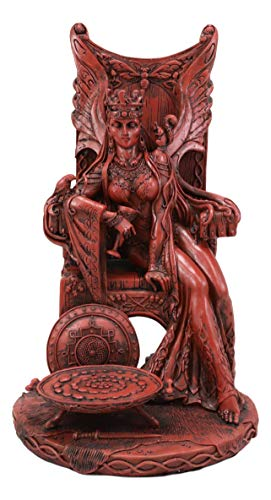 Ebros Gift Celtic Occult Goddess of Fertility Maeve with Bird and Squirrel Seated On Throne Statue 11' Tall in Polished Clay Finish Medb Queen of Connacht and Fairies Figurine Ulster Cycle Mythology