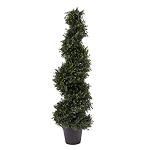 Pure Garden 4-Foot-Tall Artificial Cypress Spiral Topiary Indoor or Outdoor UV Protection Trees in Pot for Home or Office