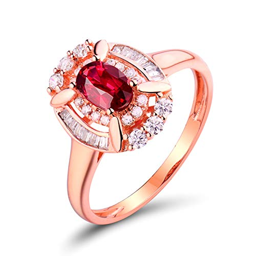 AnazoZ Anillo Mujer Plata Rubi,Anillo Oro Rosa 18 Kilates Oro Rosa y Rojo Oval Rubí Rojo 0.51ct Diamante 0.31ct Talla 6,75
