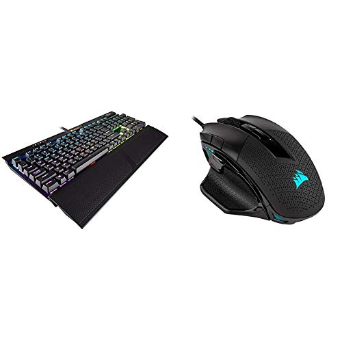 Corsair K70 RGB MK.2 Mechanical Gaming Keyboard - USB Passthrough & Media Controls - Cherry MX Brown & Nightsword RGB - Comfort Performance Tunable FPS/MOBA Optical Ergonomic Gaming Mouse