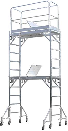 CBM Scaffold Aluminum Rolling Tower Standing at 12' Height with Hatch Deck Guard Rail U Lock