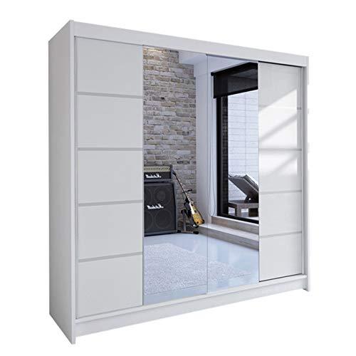 Mirjan24 Kleiderschrank Talin V, Schwebetürenschrank, Garderobenschrank mit Kleiderstange und Einlegeboden, Schlafzimmerschrank, Dielenschrank (Weiß/Weiß + Spiegel, ohne Beleuchtung)