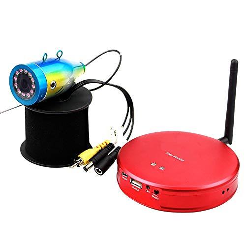 ADFHZB Wi-Fi Fish Finder Portátil Kayak Fishfinder A Prueba de Agua Cámara de Pesca bajo el Agua 15m Cable 12pcs LED para Hielo, Lago y Pesca en Barco (Color : Red)