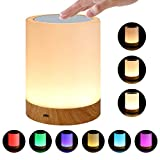 Touch Sensor Night Light, Smart Bedside Lamp Color Changing RGB Portable Table Lamp Rechargeable Touch Control for Kids Adults Outdoor Camping Etc