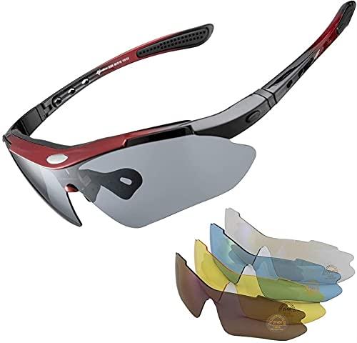 Taek-cheon Gafas de Sol polarizadas UV400, Gafas Deportivas, Gafas de Ciclismo Anti-Azul Anti-UV con 5 Lentes Coloridas Intercambiables para Llevar la Pesca de la Pesca Trekking Skiing Vacation