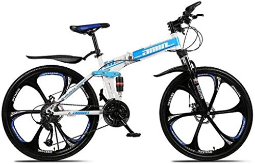 Amazing Deal DHINGM Mountain Bike Folding Bikes 26Inch 27-Speed Double Disc Brake Full Suspension An...