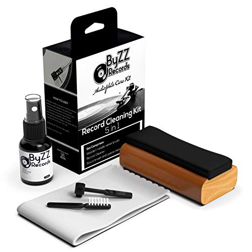 Audiophile Record Cleaning Kit 5 in - 1  A Must-Have Set for Any LP Vinyl Enthusiast - Includes: Disc Cleaner Fluid, Discwasher Velvet Brush, Anti-Static Brush, Stylus Brush (Black)