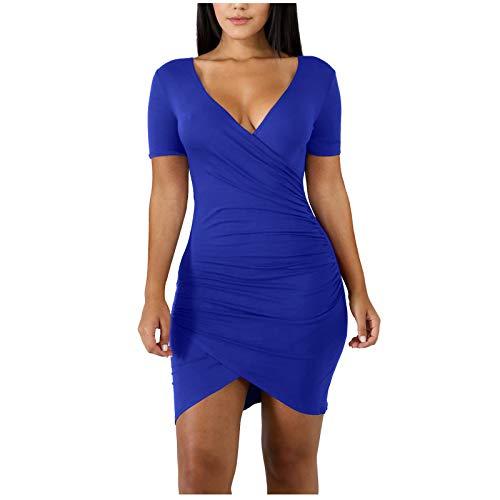 YANFANG Vestido de Manga Corta Delgado Ajustado Sexy con Cuello en V de Color sólido Informal de Moda para Mujer Elegante, Blue,L