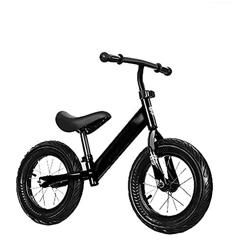 CKCL Bicicleta De Equilibrio para Niños, Sin Pedal Pequeños con Marco De Acero Al Carbono Manillar Y Asiento Ajustables Caminar para Niños Pequeños De 12'para Niños De 18 Meses a 6 De Edad,Negro
