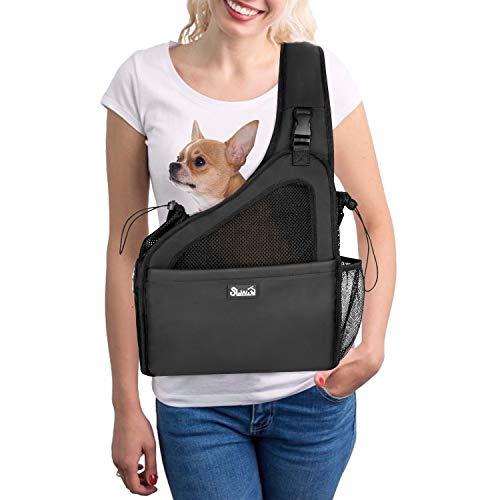 Nasjac Haustier Hund Riemen-Fördermaschine, Welpe Reisetasche Tote Verstellbarer gepolsterter Gurt Atmungsaktives Netz Harte untere Stütze Kordelzug Vordertasche Waschbar, unter 4.0kg