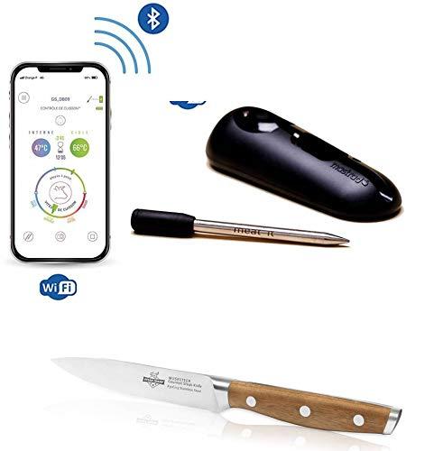 Meat°it® Bluetooth Grillthermometer und Bratenthermometer ohne Kabel, WiFi Integration, Set mit SteakChamp Steakmesser