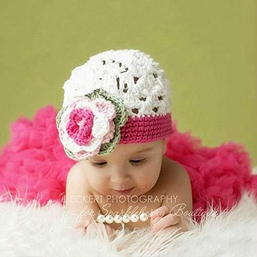 Zhangl Apparel Chapeau en coton tricoté à la main avec fleurs Blanc