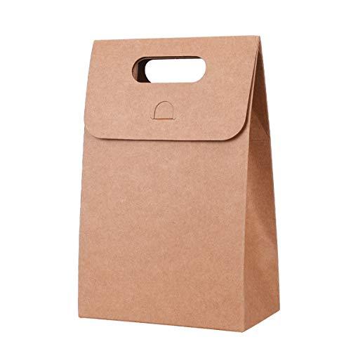 TankerStreet 15PCS Kraft Papier Tassen met Handvat Retro Natuurlijke Craft Bag Flap Sluiting Chocolade Snoep Organizer Take Out Bag Geschenkdoos voor Kerstmis Verjaardag Party Bruiloft Baby Douche Bruin 12x7x18cm Bruin