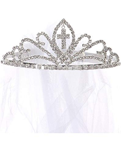 Dangling Cross Rhinestone Ribbon Tiara Princess Communion Flower Girl Veil White (K0D16)