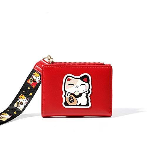 SAGIUSDM gestickte glückliche Katzen-Mappen-Frauen nehmen dünne Anime-Mappen-Manschetten-Damen-Geldbeutel-Kurzschluss-Mädchen-Mappen-Reißverschluss-Münzen-Geldbeutel, rot ab