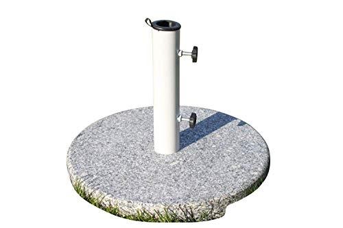 Base de sombrilla de granito redonda y grande, 20kg-Con tubo de acero con revestimiento de polvo