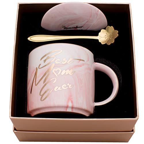 Luspan Best Gifts for Mom - Birthday Gifts for Mom - Best Mom Ever Pink Marble Ceramic Coffee Mug 11.5oz and Lid