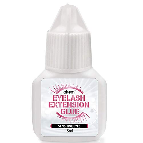 Akemi Home Use Eyelash Extension Glue for Both Self and Professional Applications|Tasteless Non-Stimulating | 3-5 Sec Drying Time | Retention 14-18 Days | Sensitive Black Eyelash Glue 5ml