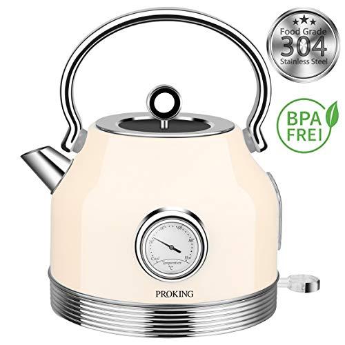 PROKING Wasserkocher Edelstahl,Elektrischer Wasserkessel 2200 W 1,7L, Temperaturanzeige, Retro Design, BPA frei, Kabelloser Teekessel, Trockengehschutz und Automatische Abschaltung (Beige)