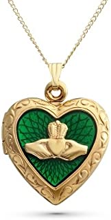 Personalized 14K Gold Sterling Silver Claddagh Heart Locket with Engraving Included